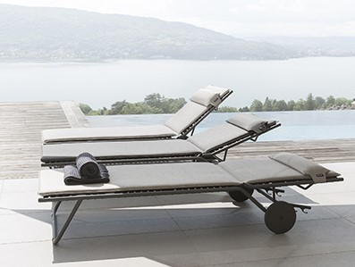 LAFUMA Mobilier sun loungers on a large patio