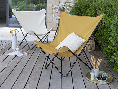 Terrace set up with designer armchairs from LAFUMA Mobilier